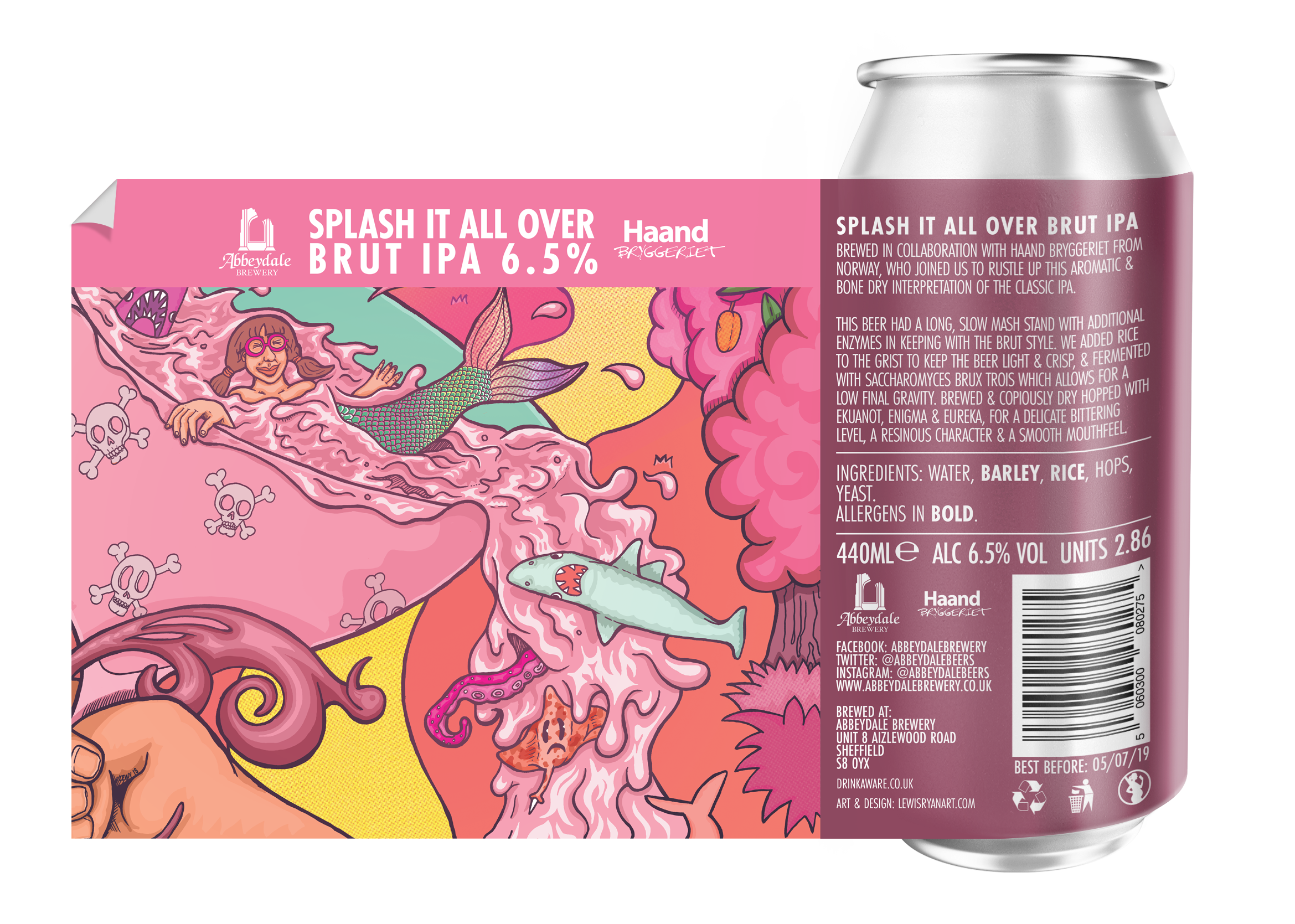Craft Beer Label Illustration - Abbeydale Brewery - Splash It All Over Brut IPA