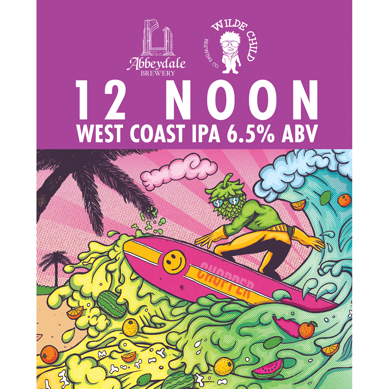 Craft Beer Label Illustration - Abbeydale Brewery - Wilde Child Brewery - 12 Noon - West Coast IPA Cask Artwork