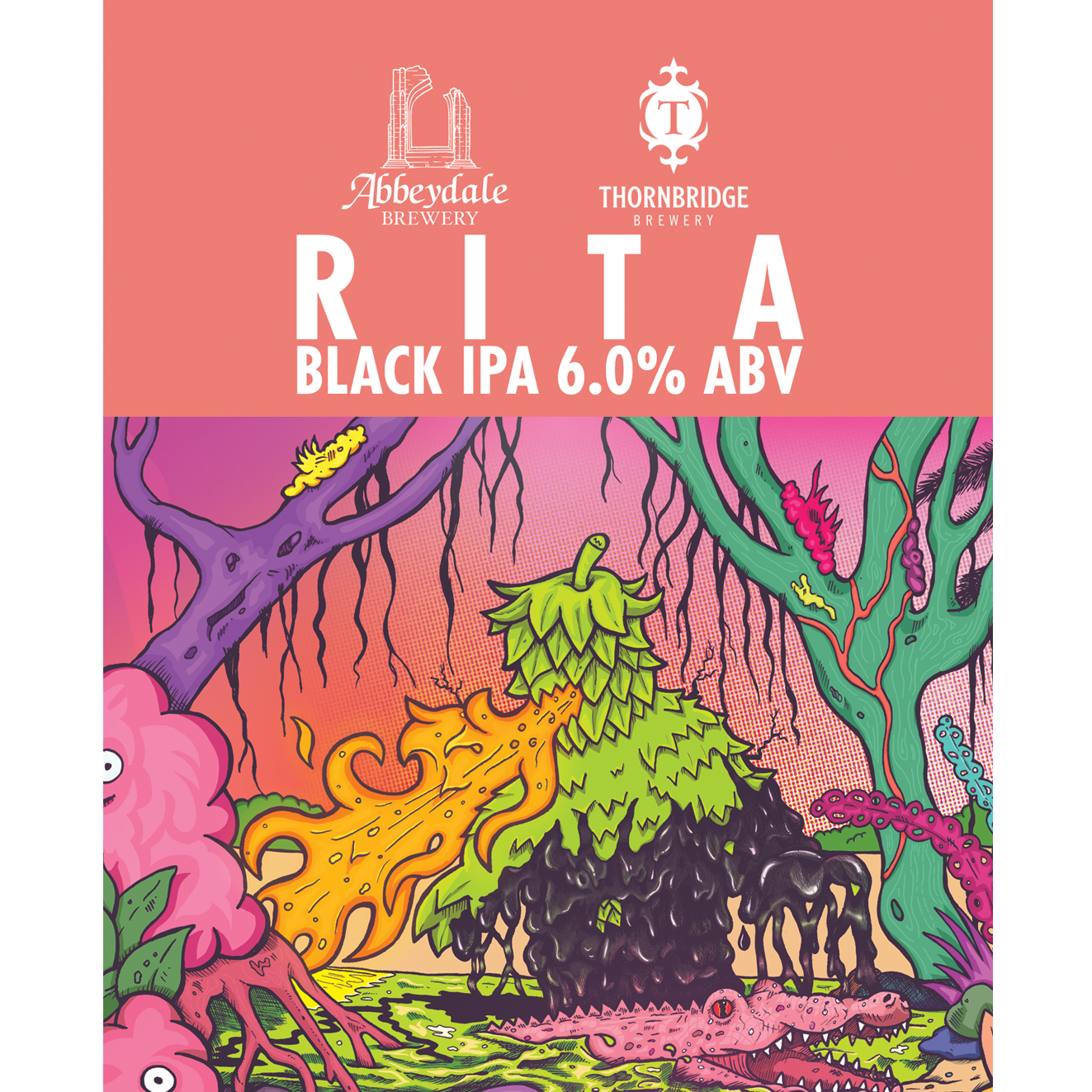 Craft Beer Label Illustration - Abbeydale Brewery x Thornbridge Brewery - Rita Black IPA Cask Artwork