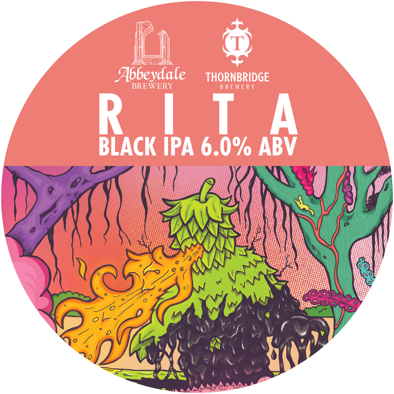 Craft Beer Label Illustration - Abbeydale Brewery x Thornbridge Brewery - Rita Black IPA Keg Artwork