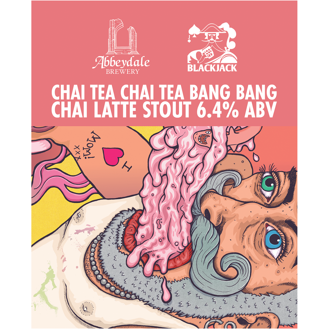 Craft Beer Label Illustration - Abbeydale Brewery - Black Jack Brewery - Chai Tea Chai Tea Bang Bang - Chai Latte Stout Cask Artwork