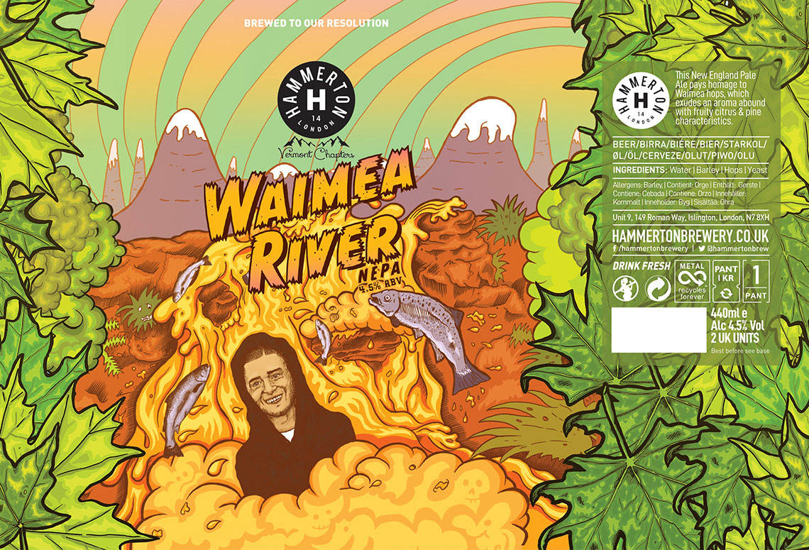 Craft Beer Label Illustration - Hammerton Brewery - Waimea River NEPA