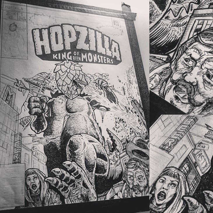 Hopzilla - Beer Poster Art Work