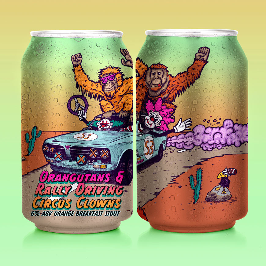 HOOCHIECOO Brew Co - Orangutans and Rally Driving Circus Clowns - Orange Breakfast Stout Craft Beer Can Mock-up