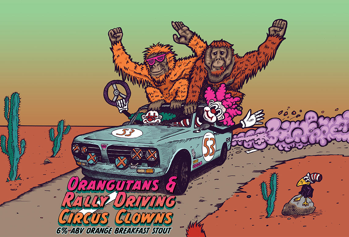 Craft Beer Label Illustration - HOOCHIECOO Brew Co - Orangutans and Rally Driving Circus Clowns - Orange Breakfast Stout