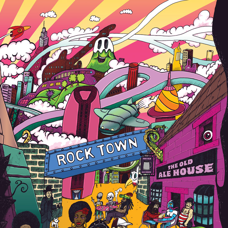 Craft Beer Illustration - Rock Town - Savage Scene Inner City Pale Ale
